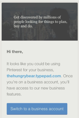pinterest business account  - The Hungry Bear